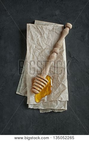 Honey And Wooden Dipper