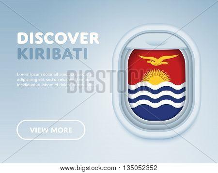 Flight to Kiribati traveling theme banner design for website, mobile app. Modern vector illustration.