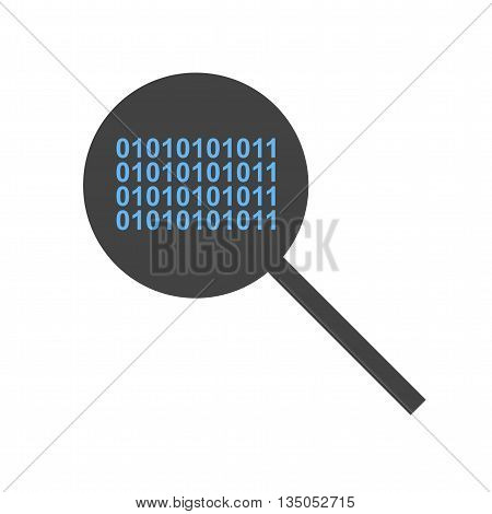 Magnifying, glass, code icon vector image.Can also be used for data sharing. Suitable for mobile apps, web apps and print media.