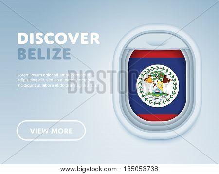 Flight to Belize traveling theme banner design for website, mobile app. Modern vector illustration.