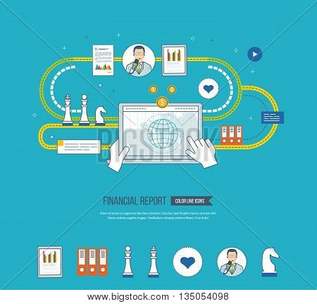 Concepts for business analysis and planning, financial strategy and report, consulting, teamwork, project management. Investment business. Financial report icons isolated.