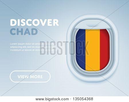 Flight to Chad traveling theme banner design for website, mobile app. Modern vector illustration.