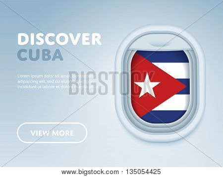 Flight to Cuba traveling theme banner design for website, mobile app. Modern vector illustration.