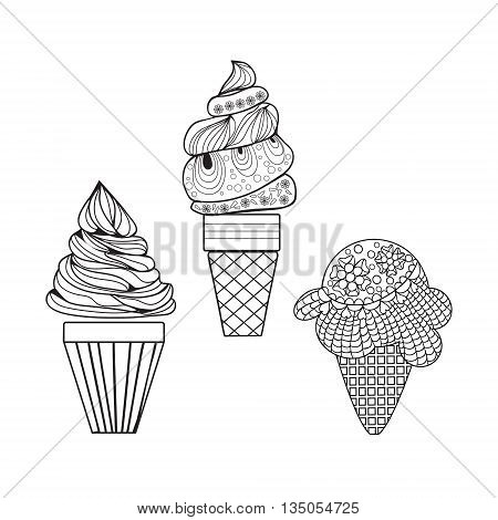 Vector Set of delicious ice-creams doodle style. Different kinds of ice cream May be use for children's coloring book