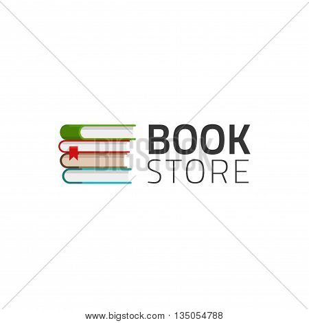 Bookstore logo vector symbol isolated on white background, pile of books logotype