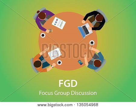 fgd focus group discussion team work together and debate view from top vector graphic illustration