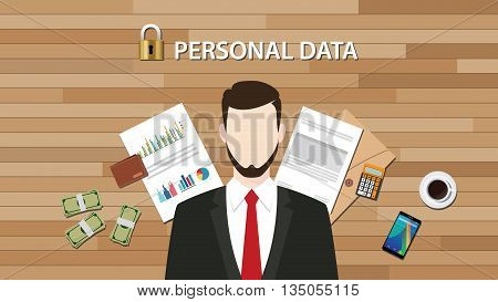 personal data lock secure with paper document graph and chart vector graphic illustration
