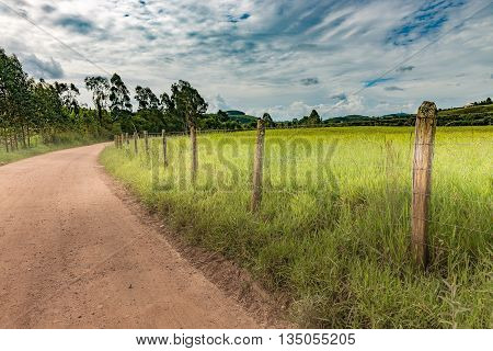 Dirt Road And Barbed Wire Fence