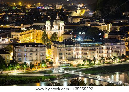 Salzburg Austria, Beautiful view of the historic city of Salzburger Land in Austria at night