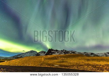 The Northern Lights Aurora borealis at Vik Iceland
