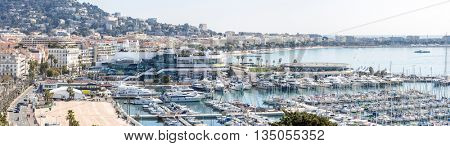 aerial view of Le Suquet- the old town and Port Le Vieux of Cannes, France