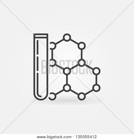 Test tube and formula icon - vector simple chemistry sign. Minimal science symbol