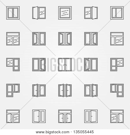 Window icons set. Vector collection of thin line window minimal symbols. Windows concept signs or logo elements