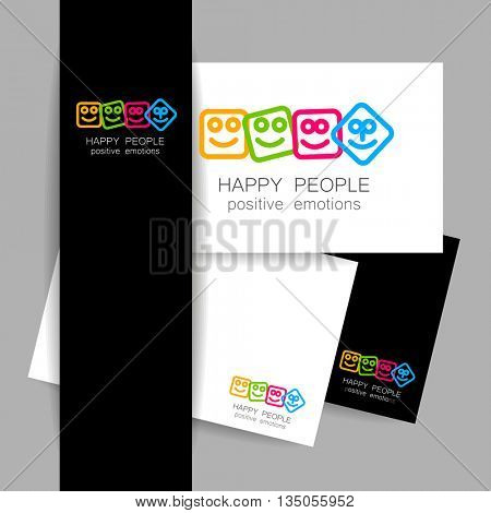 Happy people logo template. Concept identity presentation design for company. Positive emotions, entertainment sphere, unity emblem, happy people team, society fund and etc. Vector illustration.