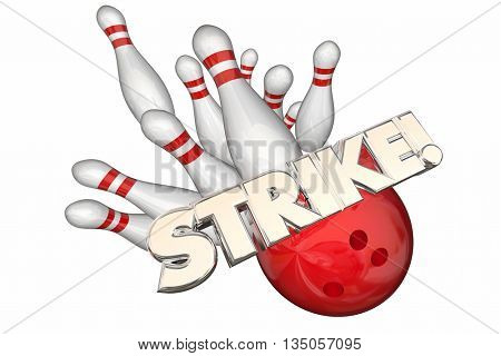 Strike Word Bowling Ball Pins Win Game 3d Illustration
