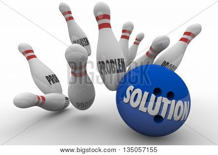 Problem Solution Bowling Ball Pins Strike Solved 3d Illustration