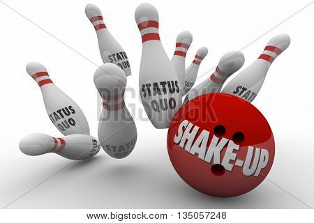 Status Quo Vs Shake-Up Bowling Ball Strike 3d Illustration