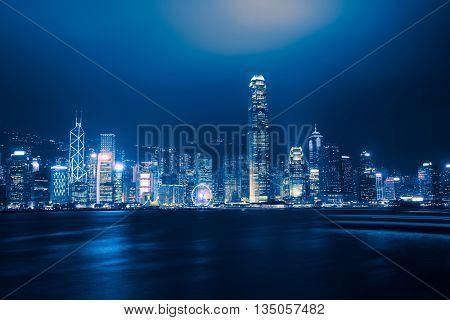 Night view at victoria harbour Hong Kong