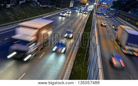 Six Lane Controlled-access Highway In Poland By Night