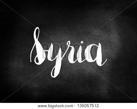 Syria written on a blackboard