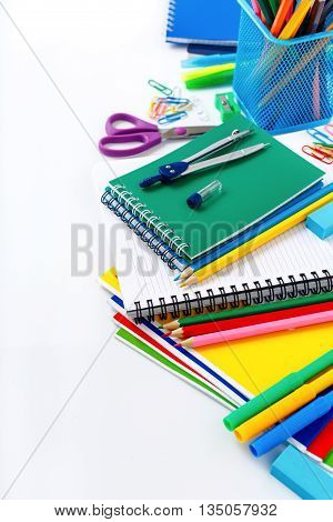 Colorful stationery on a white background. Back to school concept