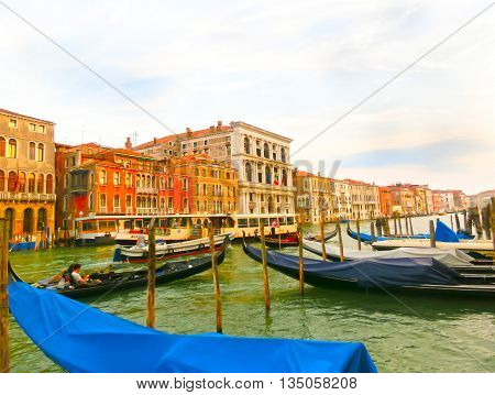 Venice, Italy - June 13, 2015 : Gondola on Canal Grande in Venice, in a beautiful summer day in Italy