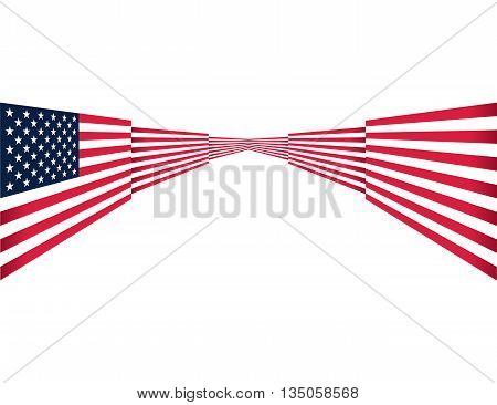 Abstract USA flag design on isolated background