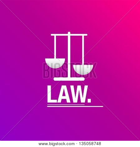 Law pink background with bascule icon for business