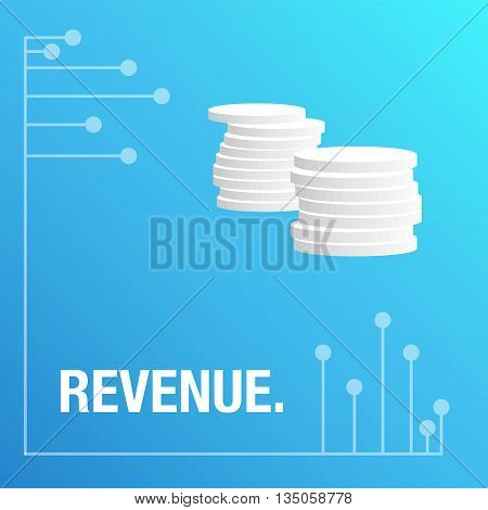 Revenue blue background with statistics for business