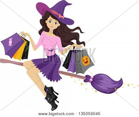 Illustration of a Teenage Witch on a Broomstick Carrying Shopping Bags