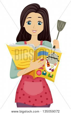 Illustration of a Teenage Girl Reading a Recipe from a Magazine