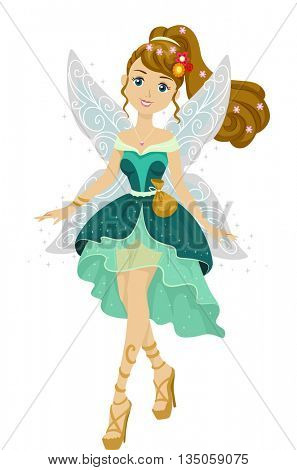Illustration of a Teenage Girl Dressed as a Cute Fairy