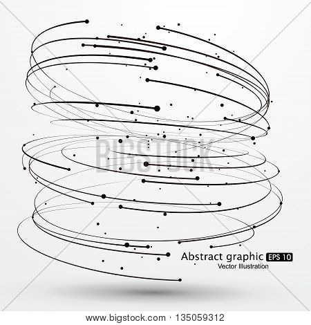 Vector Tornado,Curves and dots ,  Abstract graphics.