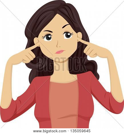 Illustration of a Teenage Girl Covering Her Ears