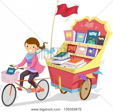Illustration of a Teenage Girl Driving a Cart Full of Books