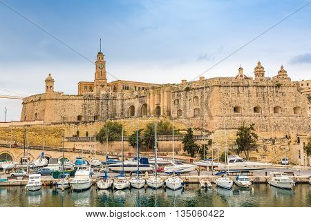 Senglea, Malta - May 7, 2016: St Michael Bastion And Vittoriosa Yacht Marina