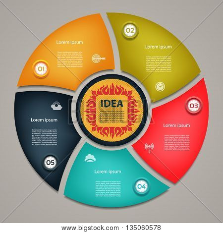 Vector circle elements for infographic. Template for cycling diagram graph presentation and round chart. Business concept with 5 options parts steps or processes. Abstract background