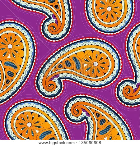 Seamless ornament with orient style paisley elements on magenta backdop