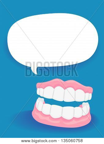 Vector Illustration of Dentures with Blank Speech Bubble