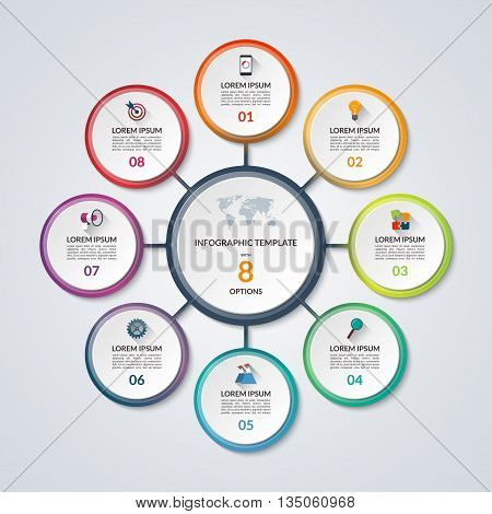Infographic circle diagram. Vector banner with 8 steps, parts, options. Template for business infographics with the set of flat icons and design elements. Can be used for cycle diagram, round chart.