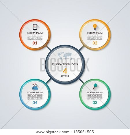 Infographic circle diagram. Vector banner with 4 steps, parts, options. Template for business infographics with the set of flat icons and design elements. Can be used for cycle diagram, round chart.
