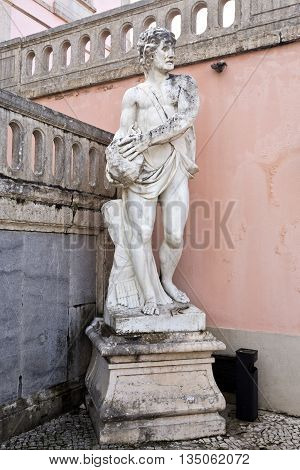 OEIRAS, PORTUGAL - November 4, 2015: Detail of the statues in the entrance courtyard of the Palace of Oeiras on November 4, 2015 in Oeiras, Portugal