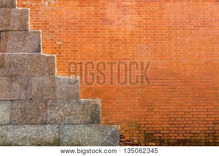 vintage texture of a red brick wall with cement plates for an ancient background and for old architectural wallpaper