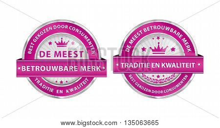 The most trusted brand. Consumer's choice. Tradition and quality (Dutch language: De meest betrouwbare merk. Best gekozen door consumenten.) - pink ribbon set for retailers. Print colors used.
