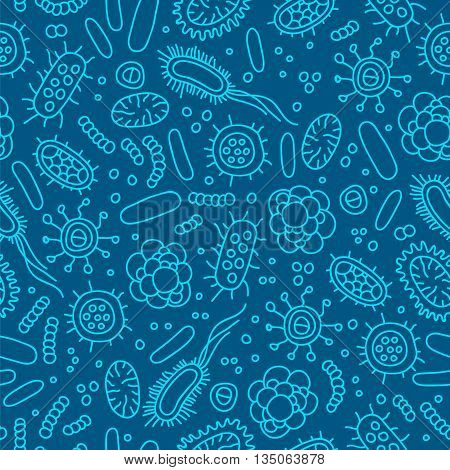 Seamless vector pattern of germs and bacteria. Beautiful abstract background in blue colors. The concept of healthcare and medicine.