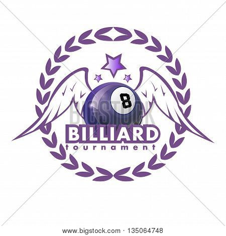 Vector Design Billiards, pool and snooker sport icon. Poolroom emblems design with balls, laurel wreath, stars and wings. Vector Illustration. Isolated on White.