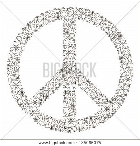 Children's coloring book symbol of peace. Pacific made up of flowers. Logo. Vector image. Hippie style.