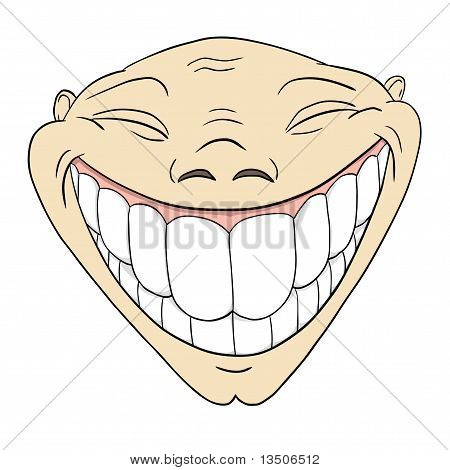 Cartoon grotesque funny face with big toothy smile