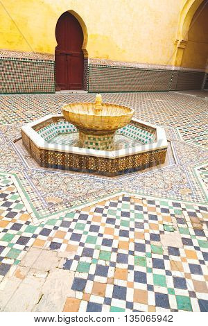 Fountain In Morocco Africa Old Antique Construction  Mousque Palace