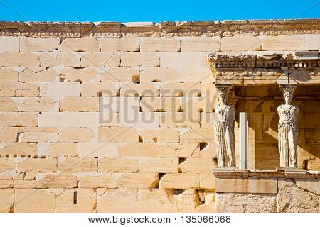 Statue Acropolis Athens   Place  And  Historical    In Greece The Old Architecture